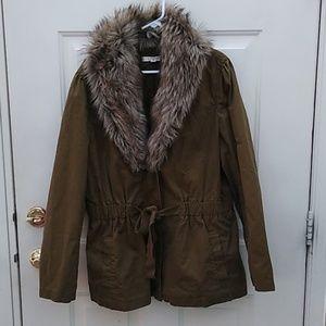 Ann Taylor Loft Drab Olive Faux Fur Jacket XXL